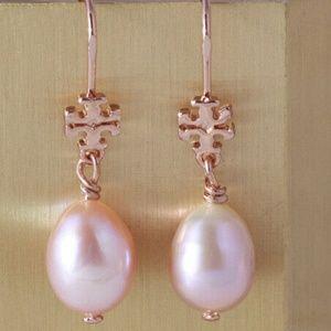 Tory Burch Earrings Silver Pearl Drop New